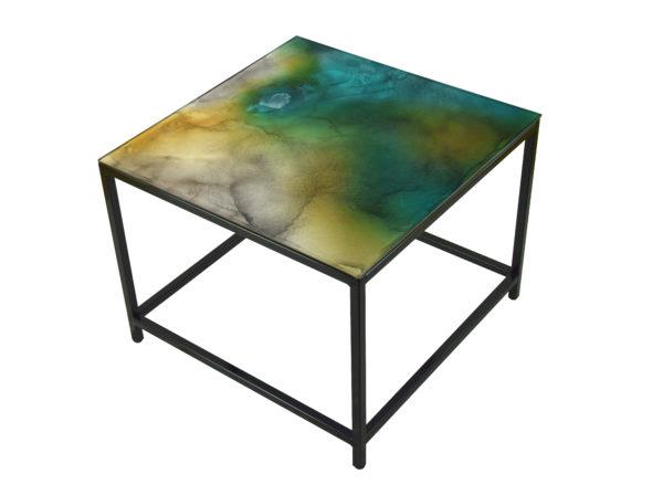table verre bleu